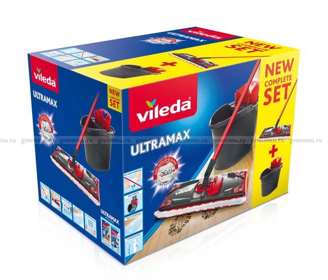 VILEDA Набор Ультрамакс в коробке со сборной ручкой (серое ведро)